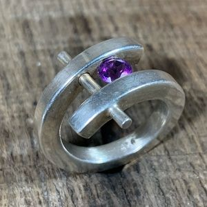 925 Sterling Silver Purple Stone Wrap Ring